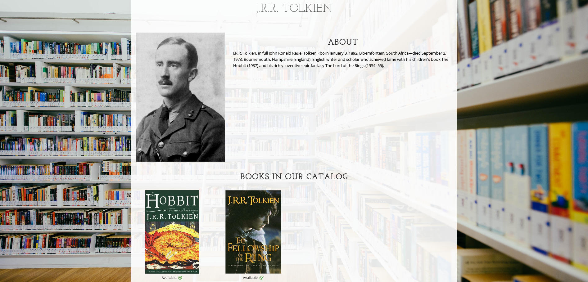 a page with the profile of an author and all the books by that author in the catalog